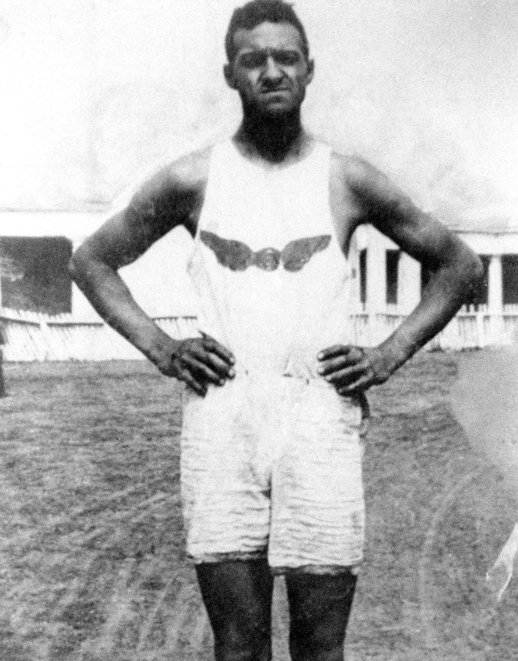 "John ""Army"" Howard, shown in his club uniform, competed for Winnipeg's North End Amateur Athletic Club. Photo credit: Harry and Valerie Jerome fonds, Simon Fraser University Special Collections and Rare Books Division."