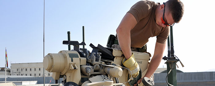 Removing a remote weapons system from an RG-31 Canadian armoured patrol vehicle