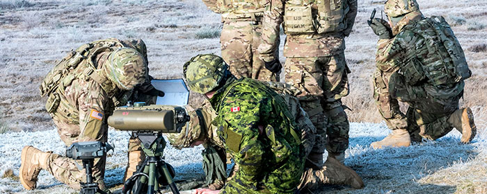 Members of 3rd Battalion, The Royal Canadian Regiment (3 RCR) share artillery skills and knowledge with the US Army at Glebokie's training base
