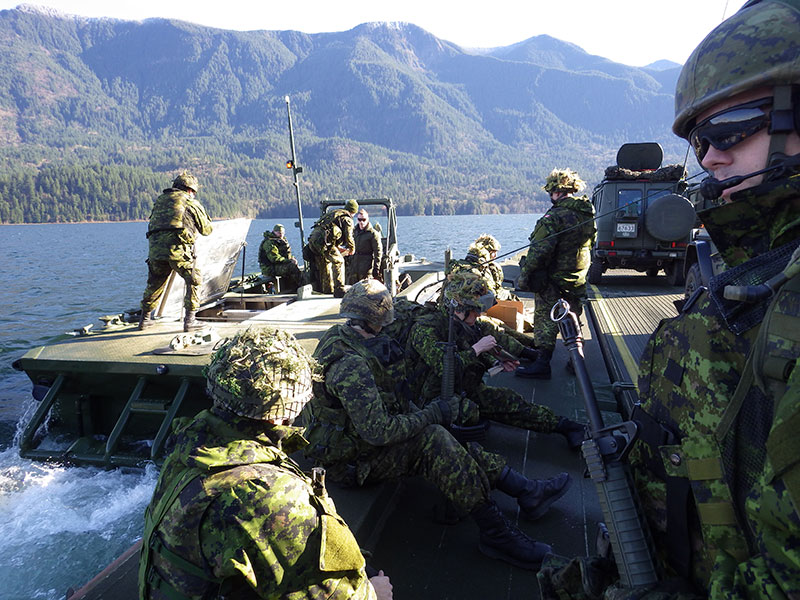 39th Combat Engineer Regiment and members of The British Columbia Dragoons reconnaissance squadron through Cultus Lake, BC