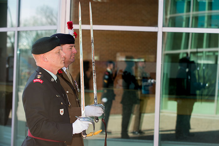 Soldiers outside the doors of City Hall Medicine Hat