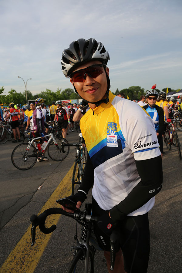 Captain Cherith Tse during the 2014 Toronto-Niagara Enbridge Ride to Conquer Cancer (at the end of Day 1 in Hamilton, Ontario). He and his team raised $8500 during the 2013 ride, $16 000 during the 2014 ride and hope to raise $20 000 in 2015 for cancer research and patient care in support of their friends, relatives and all affected by cancer. 