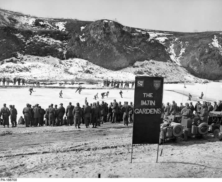"When Canadian soldiers serving in the Korean War were given time away from their dangerous front-line duties, their thoughts often turned to sports. Winters in Korea are harsh and the rivers would freeze as the temperatures dropped. Canadians stationed near the Imjin River decided to make use of all that ice and created a makeshift outdoor rink they dubbed ""Imjin Gardens"". The first games were played in 1952. Photo: DND"