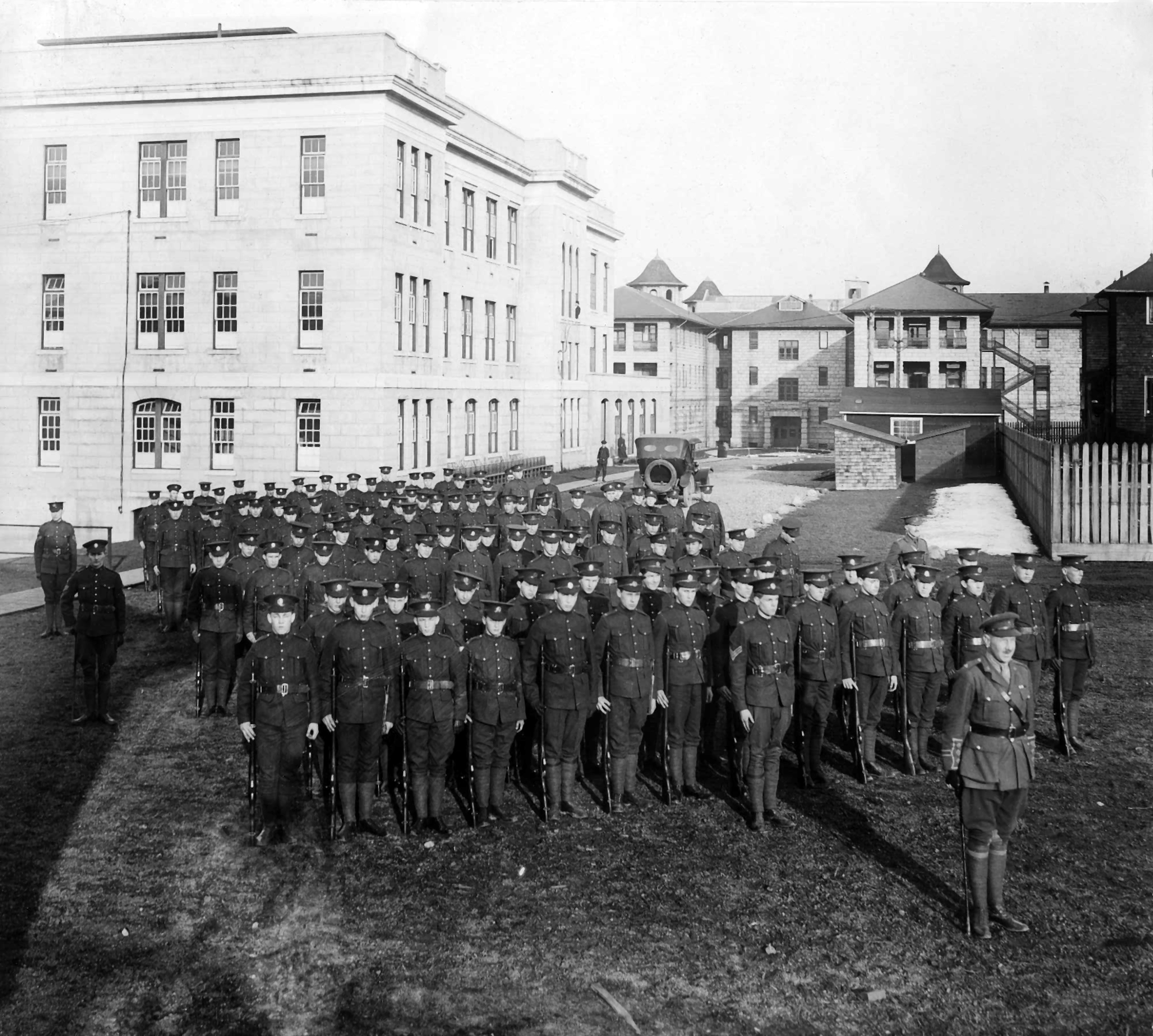 A class of the Canadian Officer Training Corps (COTC) at the University of British Columbia, circa 1915. By the end of the First World War, 697 COTC members would see active military service and 78 would be killed in action. In 1939, registration in the COTC doubled as the Second World War began. A total of 1,680 students enlisted in the armed services and 169 made the ultimate sacrifice.