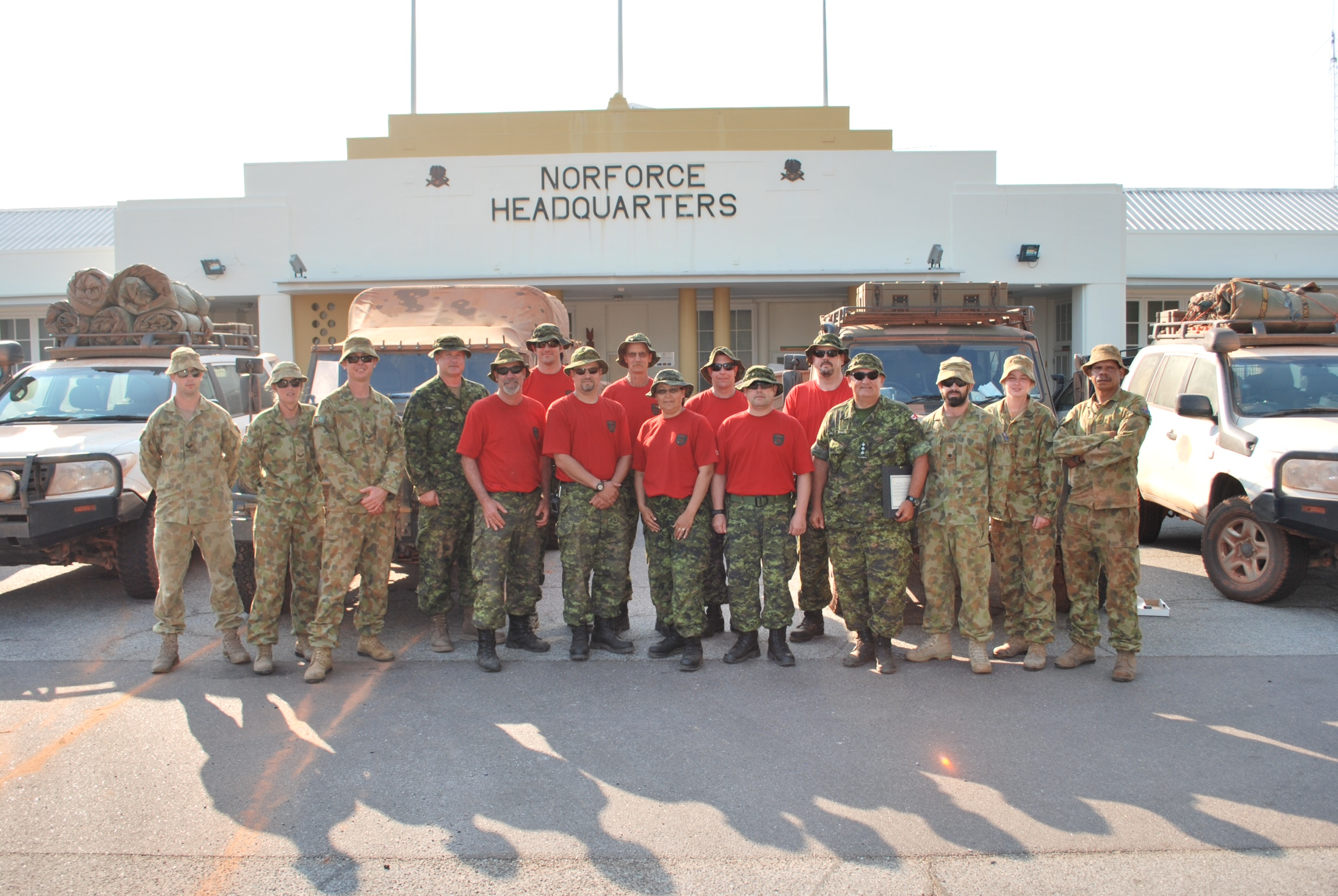 Members of the 4th Canadian Ranger Patrol Group are pictured outside the North West Mobile Force headquarters.
