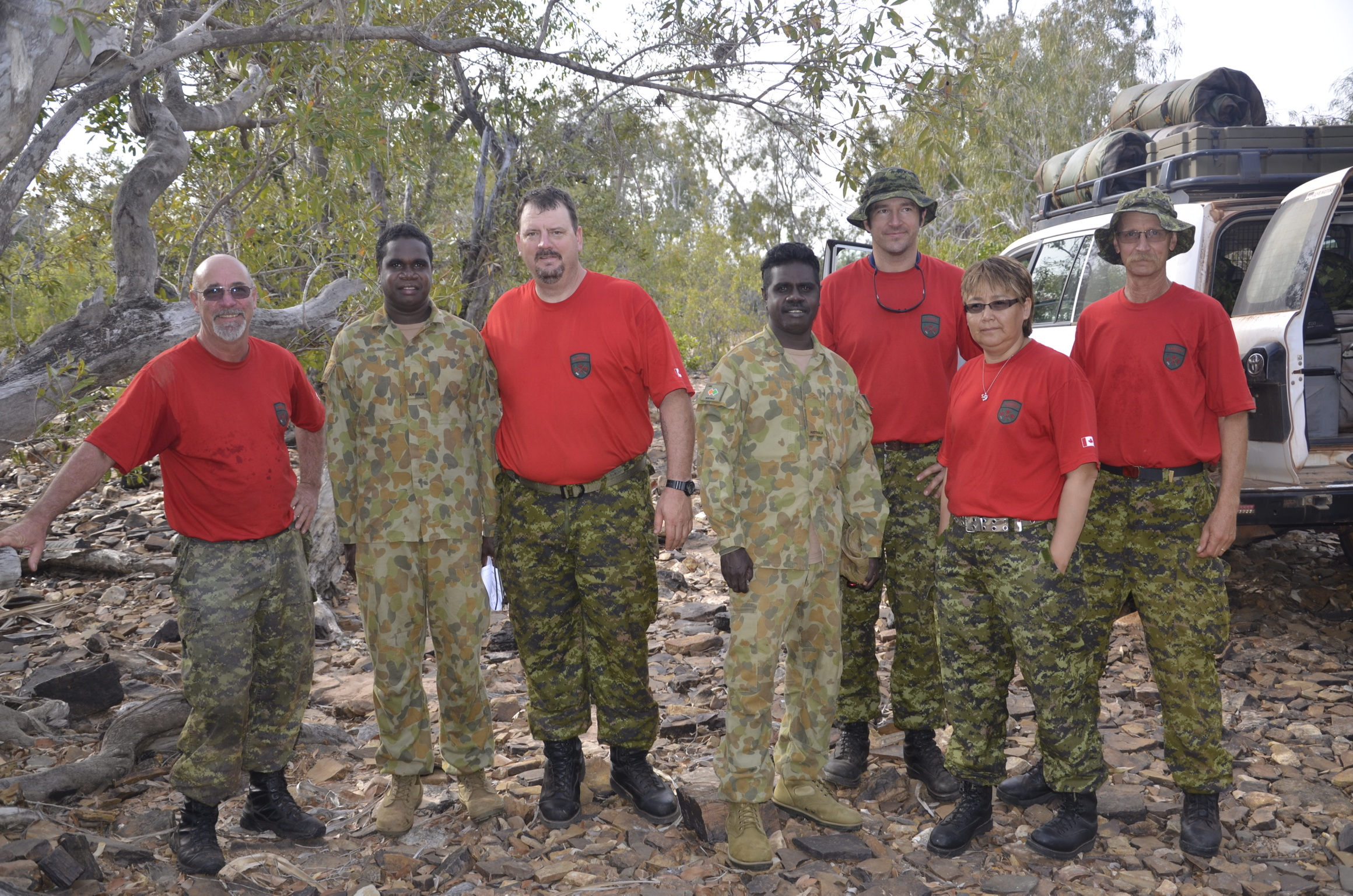 Members of the 4th Canadian Ranger Patrol Group pictured with their Australian counterparts.