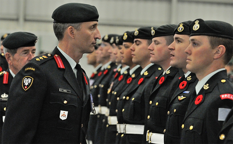 Colonel T.J. Cadieu, Commander 1 Canadian Mechanized Brigade Group, inspects members of 1st Battalion, Princess Patricia's Canadian Light Infantry (1 PPCLI) during the Change of Command Parade on November 5, 2015 at the Edmonton Garrison.  Photo: MCpl FriedaVanPutten