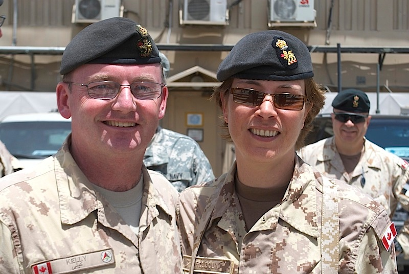 On July 29 J 2012, Colonel Josée Robidoux (right),  arriving at Camp Eggers in Kabul, Afghanistan is shown with Colonel Patrick Kelly (left), who was departing Kabul after nine months in theatre. Photo: ©2015 DND-MDN Canada.