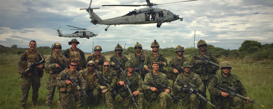 A Forward Observers team from the 2nd Air Naval Gunfire Liaison Company of the U.S. Marine Corps attached to the Canadians for a day during the South American exercise UNITAS-AMPHIBIOUS held in Brazil from November 14 to 25, 2015. Photo by: Lance-Corporal Notman, United States Marine Corps