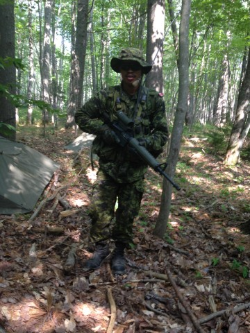 Captain Sonny Brown out in the field during Basic Military Officer Qualification–Land