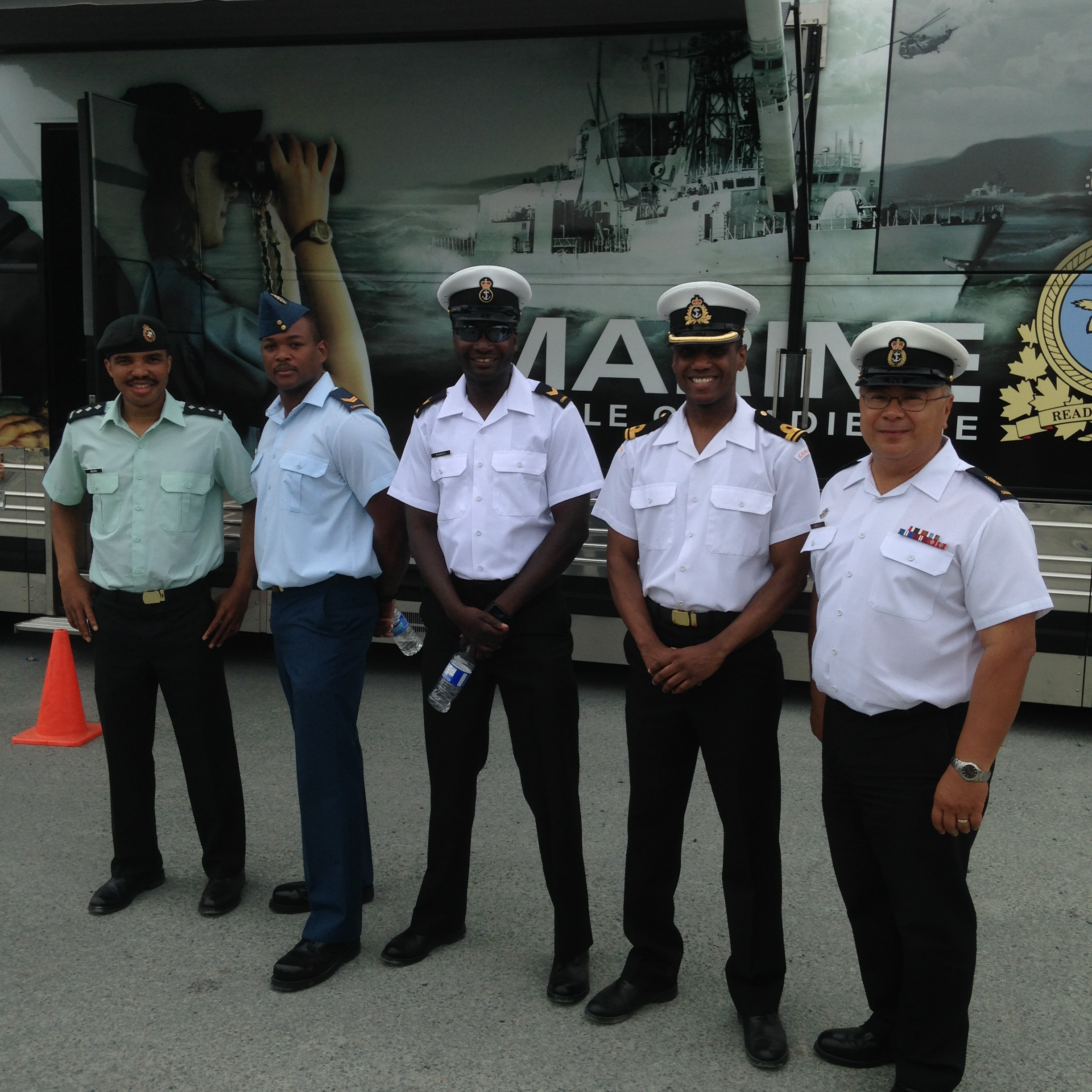 Captain Sonny Brown with fellow members of the Defence Visible Minority Advisory Group in North Preston, Nova Scotia during the Annual North Preston Day Celebration in July 2015. Photo supplied by: Captain Sonny Brown, 5th Canadian Division Headquarters