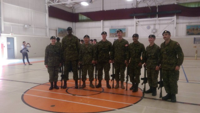 Captain Sonny Brown with fellow members of 1 Section during the graduation of the Basic Military Officer Qualification – Land course at Camp Aldershot in August 2015. Photo supplied by: Captain Sonny Brown, 5th Canadian Division Headquarters
