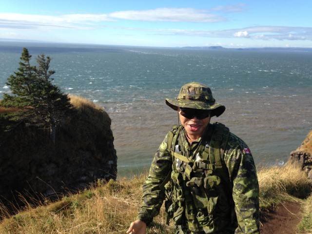 Captain Sonny Brown hiking on the Cape Split trail in the Annapolis Valley, Nova Scotia in September 2015. Photo supplied by: Captain Sonny Brown, 5th Canadian Division Headquarters