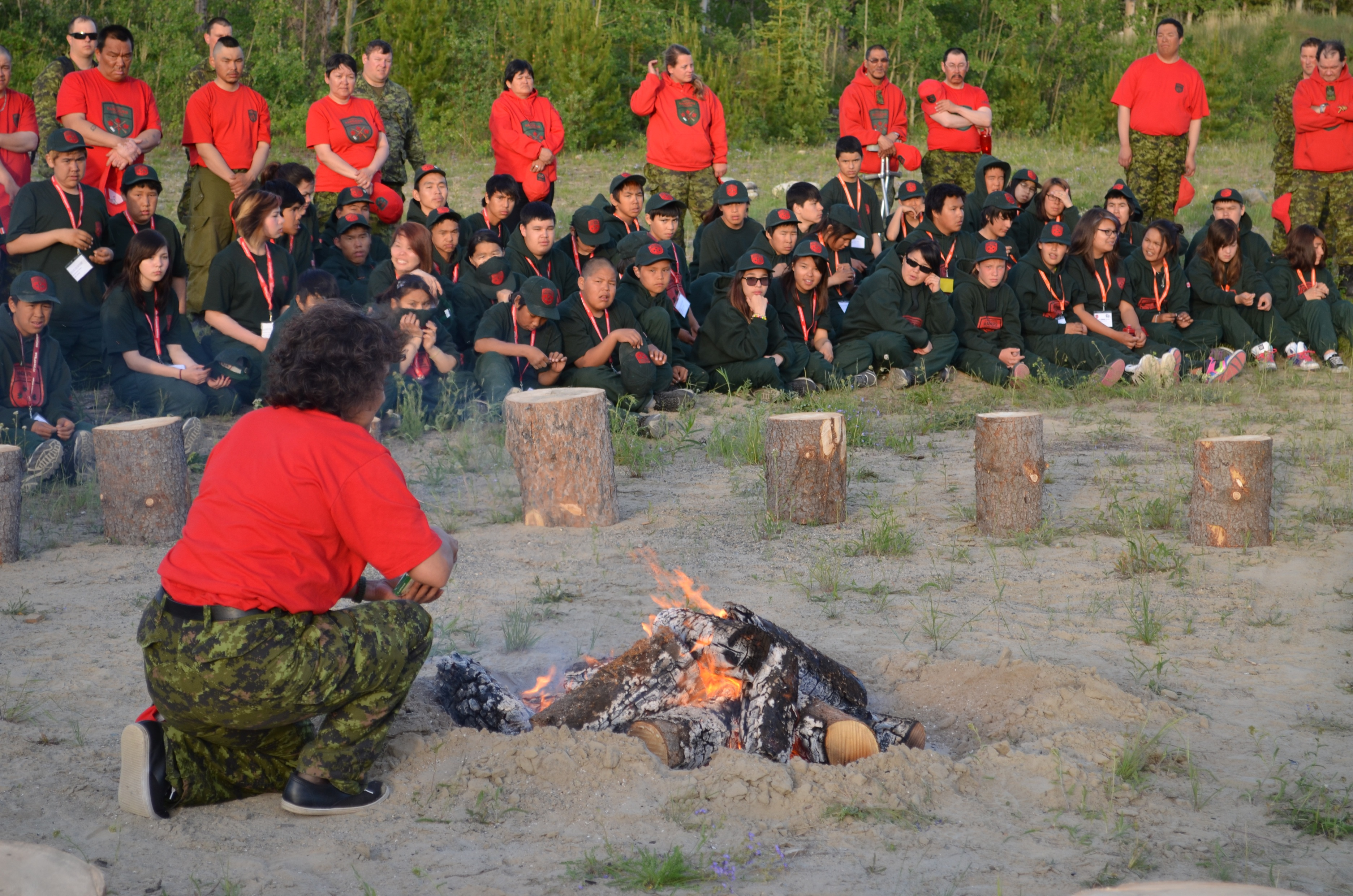 Canadian Ranger Dollie Simon offers a traditional smoke prayer during the opening ceremony for the Junior Canadian Rangers – Enhanced Training Session in Whitehorse, YT on June 22, 2013. Photo by: Ranger Harry Kern, 1st Canadian Ranger Patrol Group. ©2013 DND/MDN Canada.