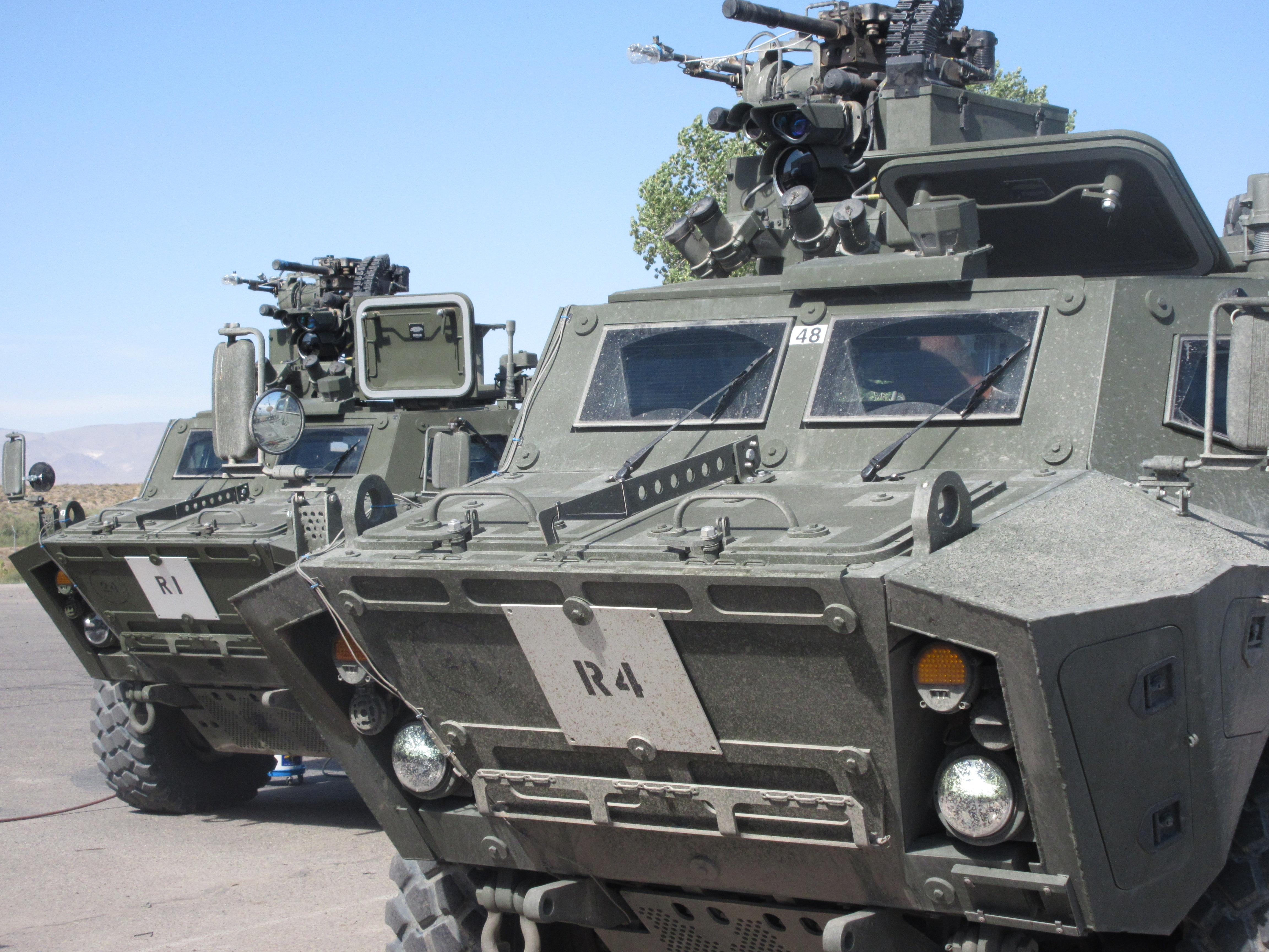 Front view of two tactical armoured patrol vehicles photo supplied by textron systems canada
