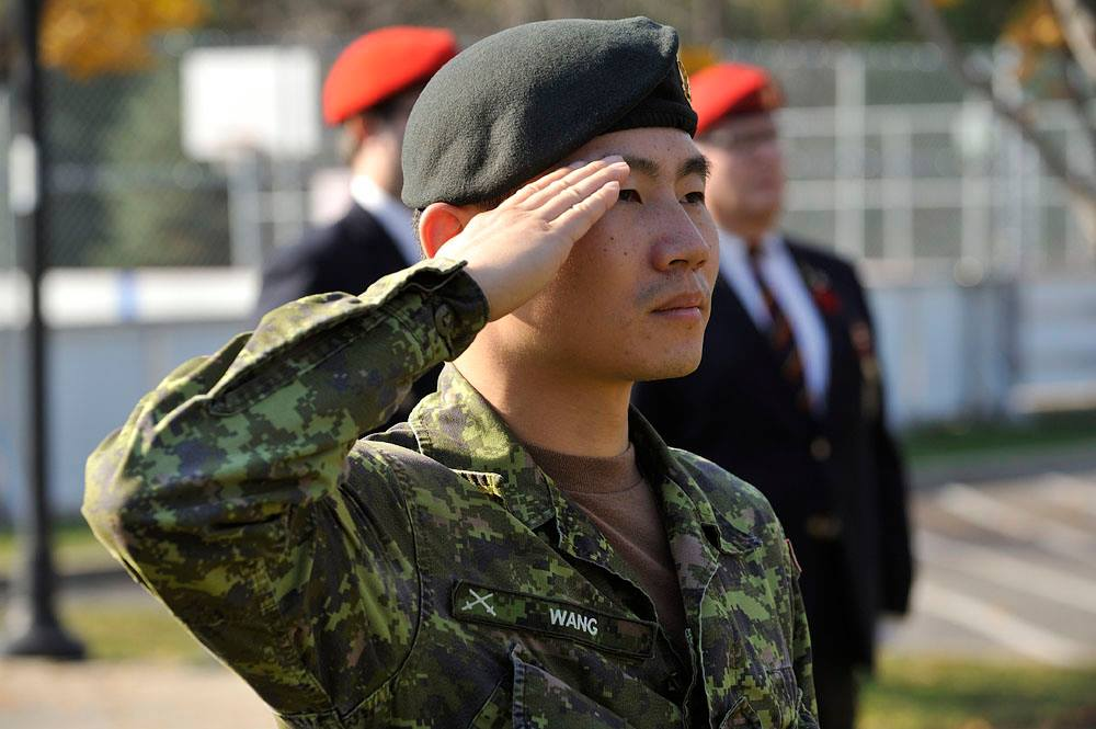 Second Lieutenant Rui Hao Wang as the Ceremonial Guard Commander at the Town of Hampstead's Remembrance Day 2015 event.