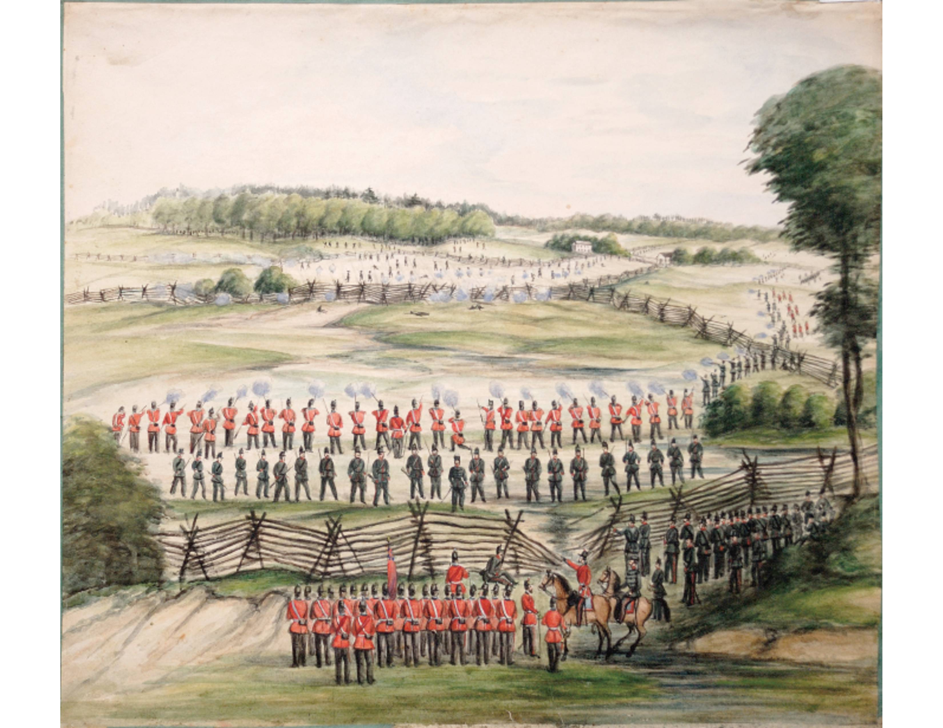 The Queen's Own Rifles and 13th Battalion (now Royal Hamilton Light Infantry) in a watercolour painting done during the time of the Ridgeway Battle. It will be included in a new book called First Hand Accounts of the 1866 Fenian Raid and Battle of Ridgeway featured in a six-month Canada 150 exhibit at the Canadian War Museum.