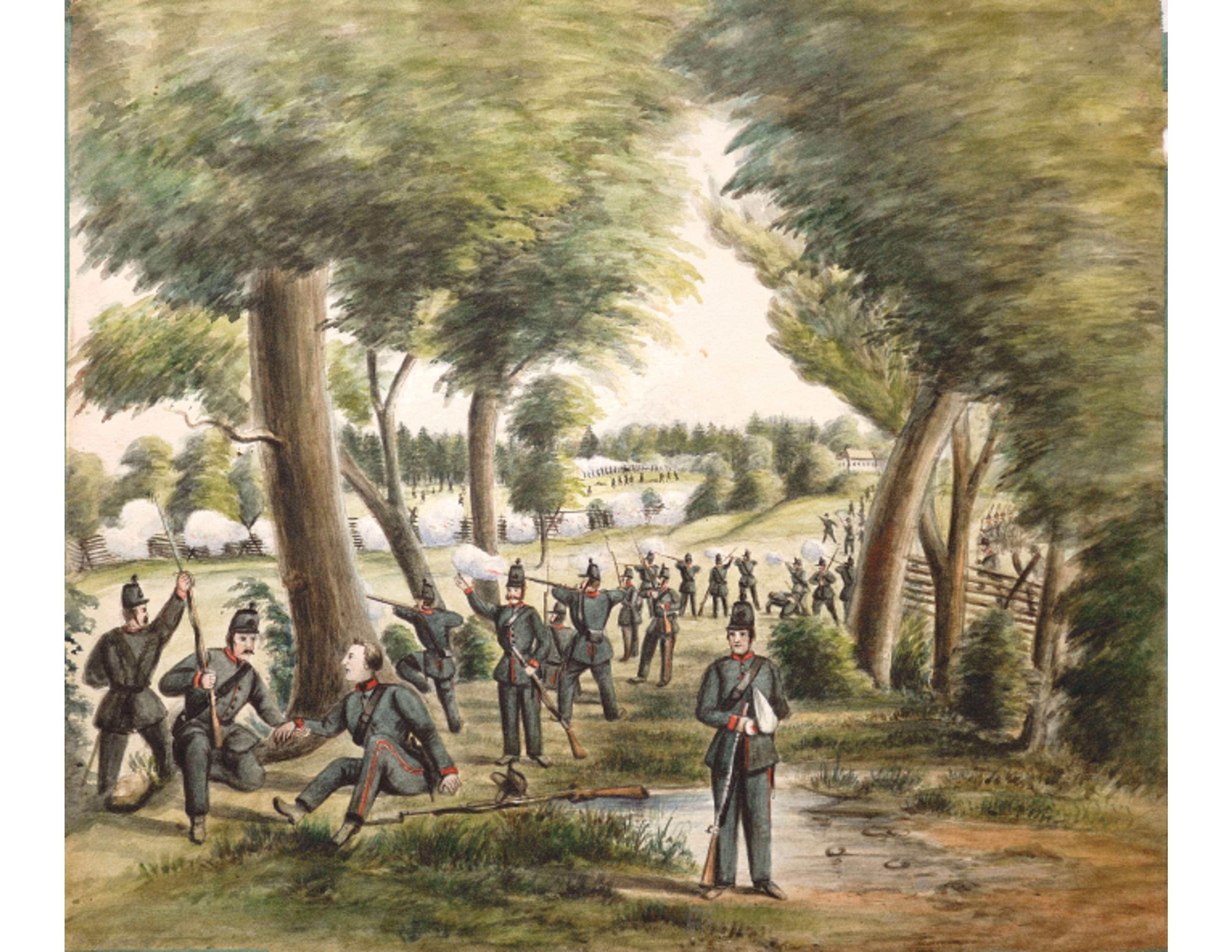 The Queen's Own Rifles in a watercolour painting done during the time of the Ridgeway Battle. It will be included in a new book called First Hand Accounts of the 1866 Fenian Raid and Battle of Ridgeway featured in a six-month Canada 150 exhibit at the Canadian War Museum.