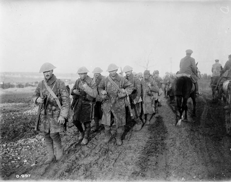 Canadian soldiers returning from trenches during the Battle of the Somme