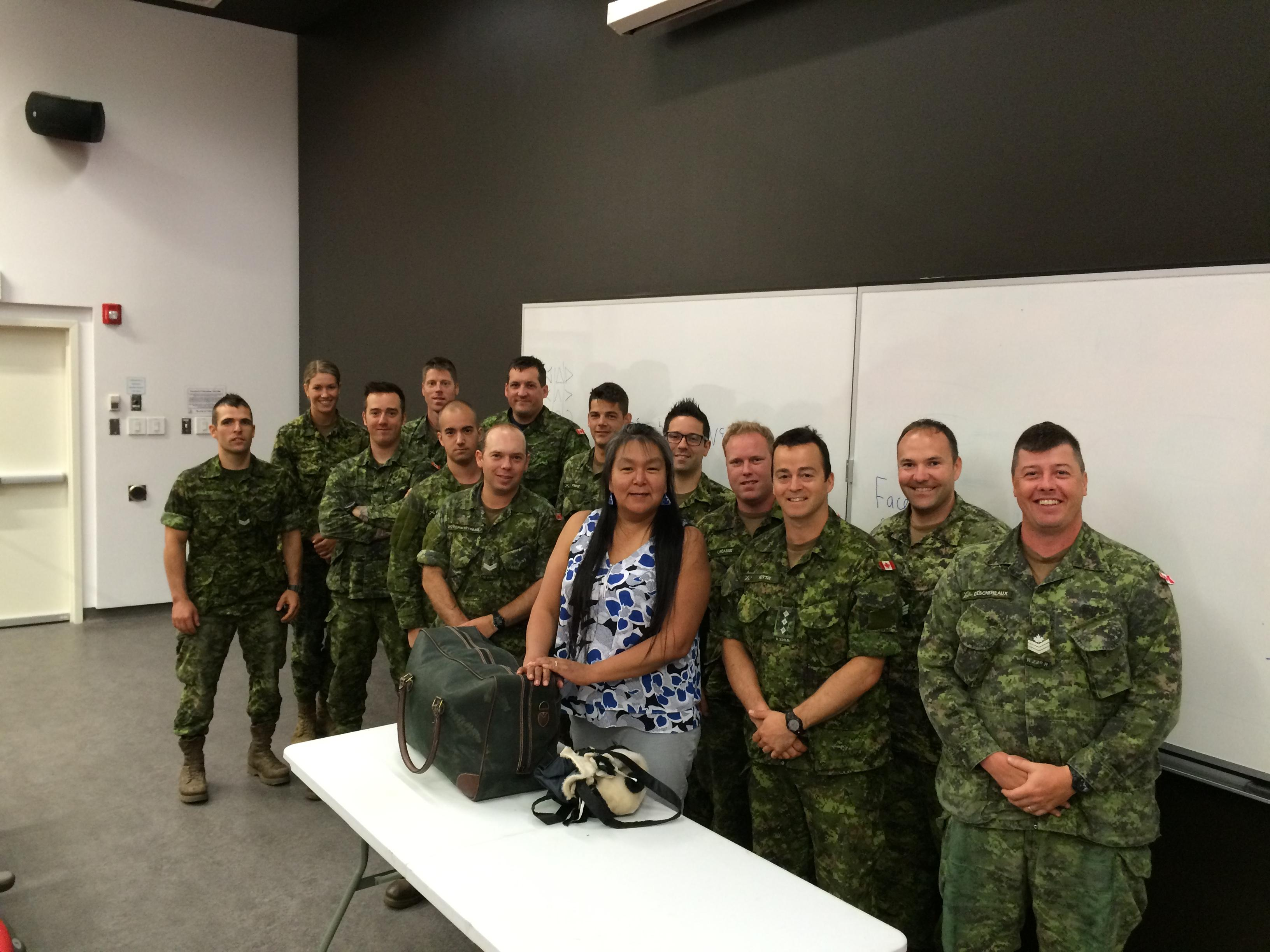Participants of the Aboriginal Awareness course with Inuk guest speaker Annie Baron in Valcartier, Quebec, May 28-30. Photo by: Capt Alex Trousdale, 1st Battalion Royale 22e Régiment. ©201x DND/MDN Canada.