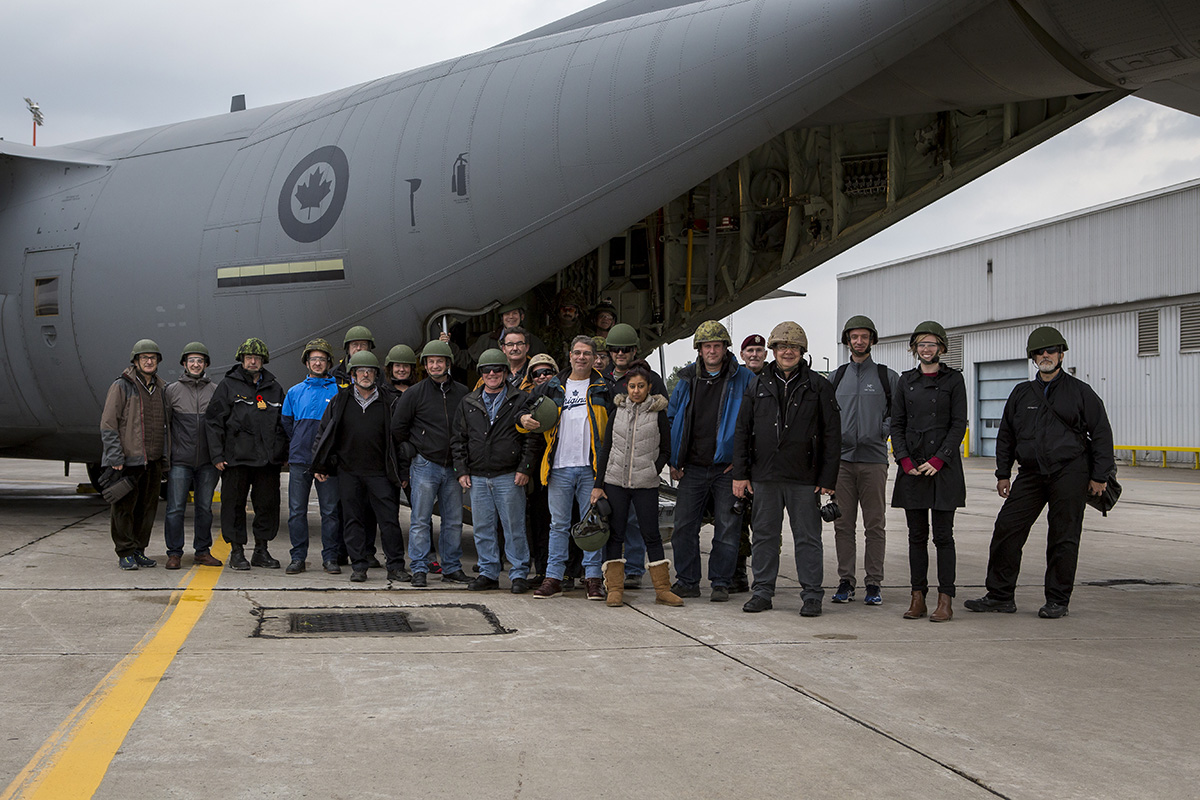 Participants from the Executrek Program poses for a photo at the drop zone in Canadian Forces Base Trenton during Exercise QUICK RIG on October 29, 2016.