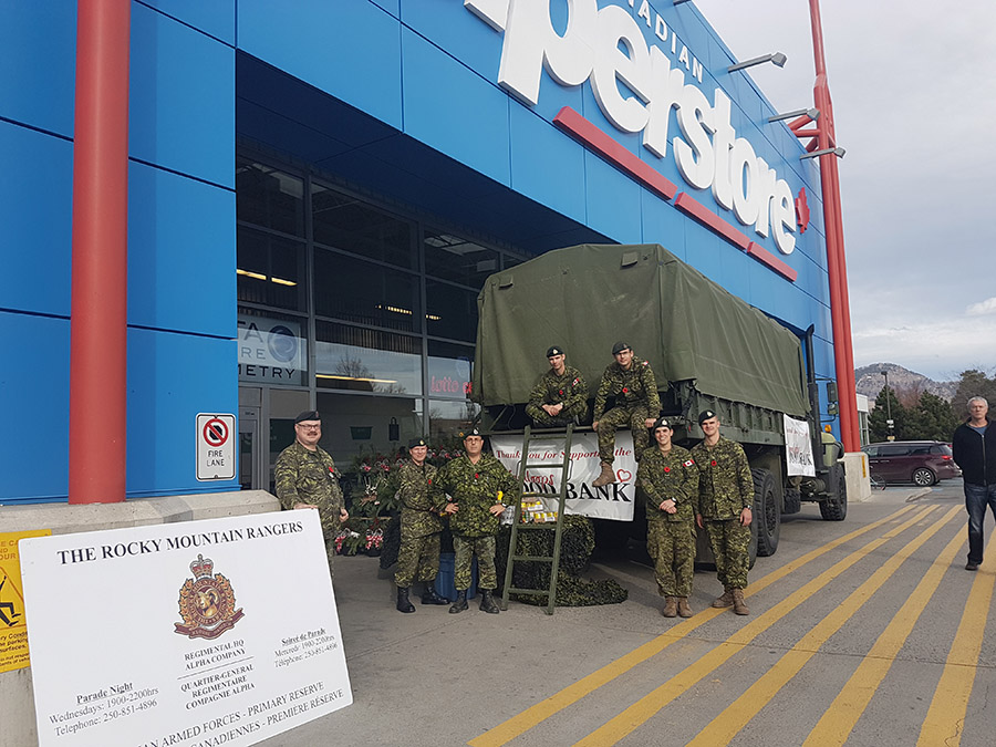 Soldiers of the Rocky Mountain Rangers conducted their annual food drive 05 Nov 16 in Kamloops.