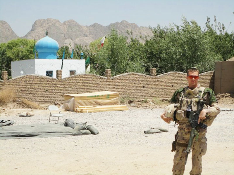 Lieutenant (now Captain) Craig Cutting, a Canadian Army Artillery Officer, pictured in Afghanistan during his 2010 deployment there. Capt Cutting says he enjoys the wide variety of challenges and roles that come with being in the Artillery trade. Photo provided by: Capt Craig Cutting