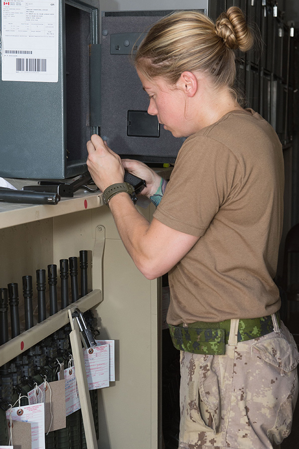 A Canadian Armed Forces Weapon Technician conducts small arms function tests and repairs camp weapons at Camp Canada during Operation Impact in Iraq on September 16, 2016. Warrant Officers with experience as Weapon Technicians or in other trades are invited to join the annual Army Technical Warrant Officer Program, which deepens their knowledge of math and science and teaches critical thinking skills.