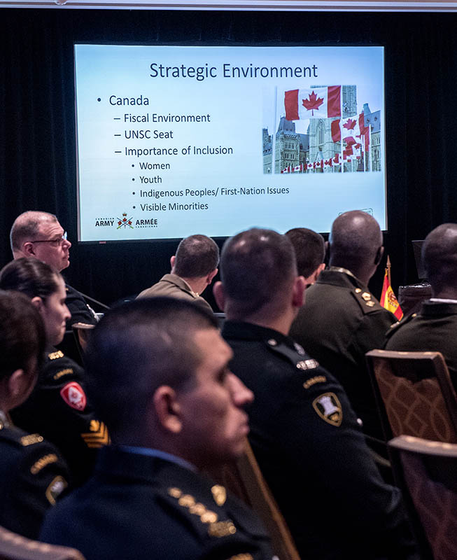 The Canadian Army hosted the Conference of American Armies Specialized Conference in Toronto, Ontario, from February 6 to 10, 2017 with senior army officers from Western Hemisphere armies in attendance. The theme of the latest Specialized Conference was Training for the Interagency Environment.