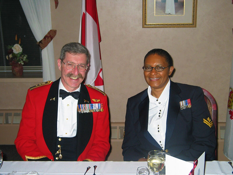 Sergeant Joan Buchanan, now retired, with Major-General (Retired) Ed Fitch, OMM, MSM, CD, the first Champion of the National Capital Region Defence Visible Minorities Advisory Group in Ottawa, Ontario in 2005.