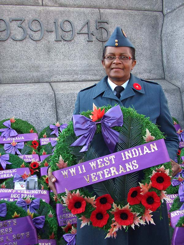 Sergeant Joan Buchanan, now retired, lays wreath in honour of West Indian Veterans on Remembrance Day 2009 in Ottawa, Ontario.
