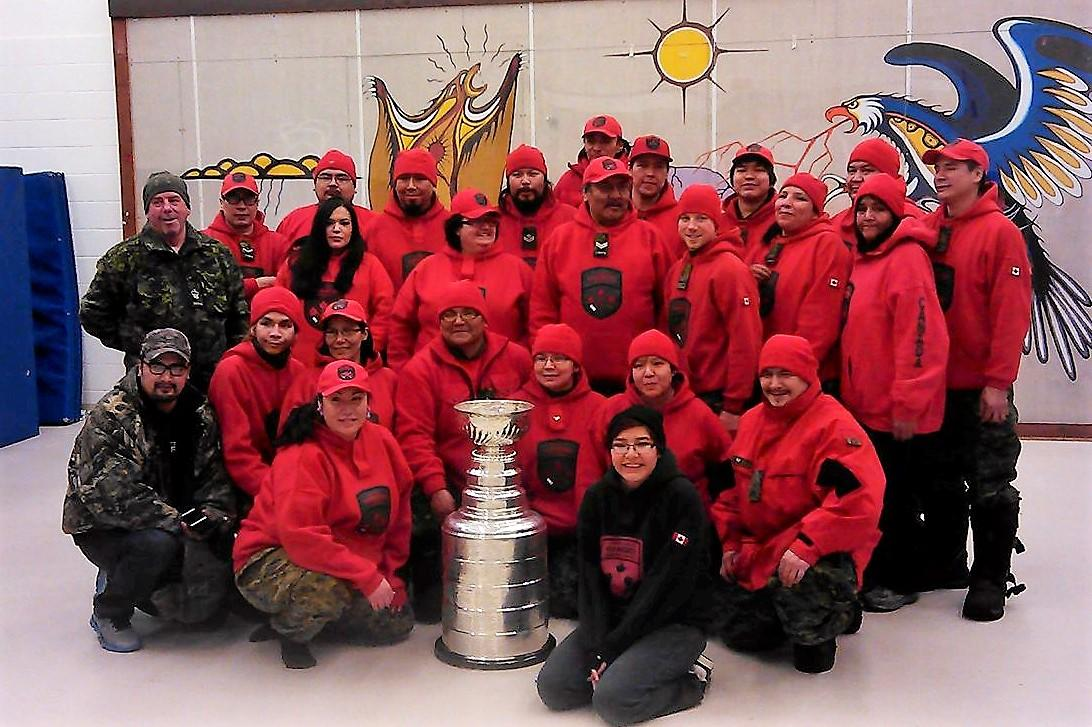 Members of the Canadian Rangers with the Stanley Cup