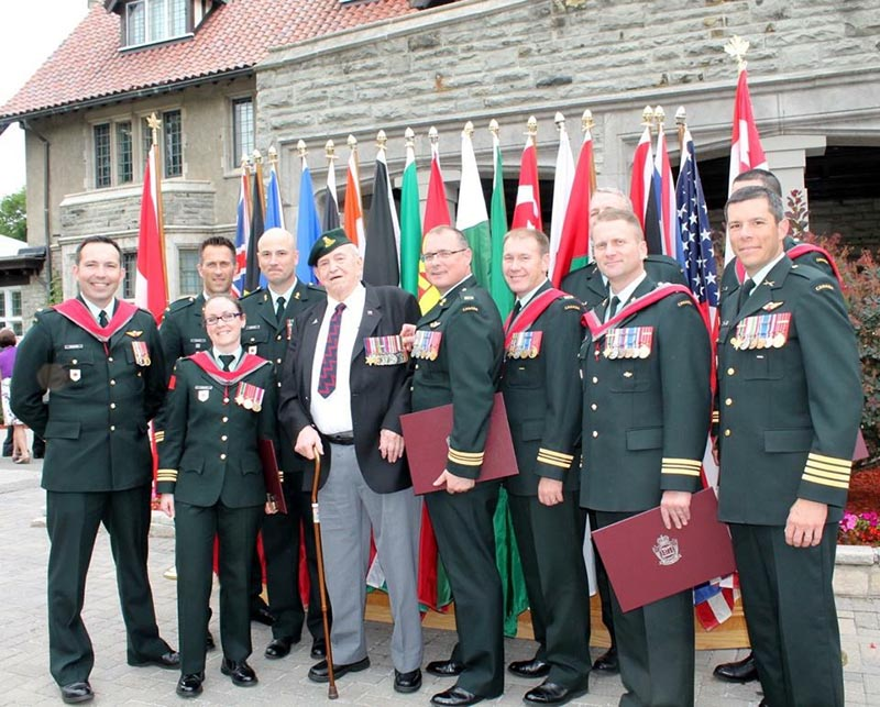 Lieutenant-Colonel Bouckaert (second from left) with fellow Artillery officers graduating from the Joint Command and Staff Programme with a Masters of Defence Studies at the Canadian Forces College in June 2012. They are also joined by former Artillery officer Captain (Retired) Fred Allen (third from left), a Second World War veteran and dear friend of LCol Bouckaert.