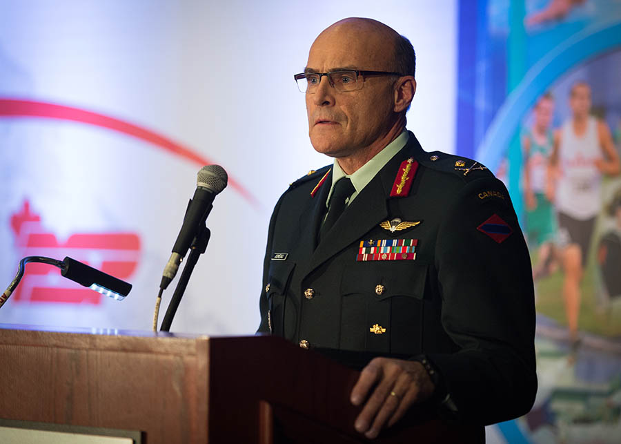 The Canadian Armed Forces Sports Awards Ceremony is held at the Ottawa Conference & Event Centre on the 27th of November, 2015 in Ottawa, Ontario. Major-General Christian J.C.G. Juneau addresses the audience during the Sports Awards Ceremony.