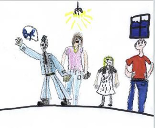 An example of a child's drawing of his or her military family. Photo: provided by Director General Military Personnel Research and Analysis.
