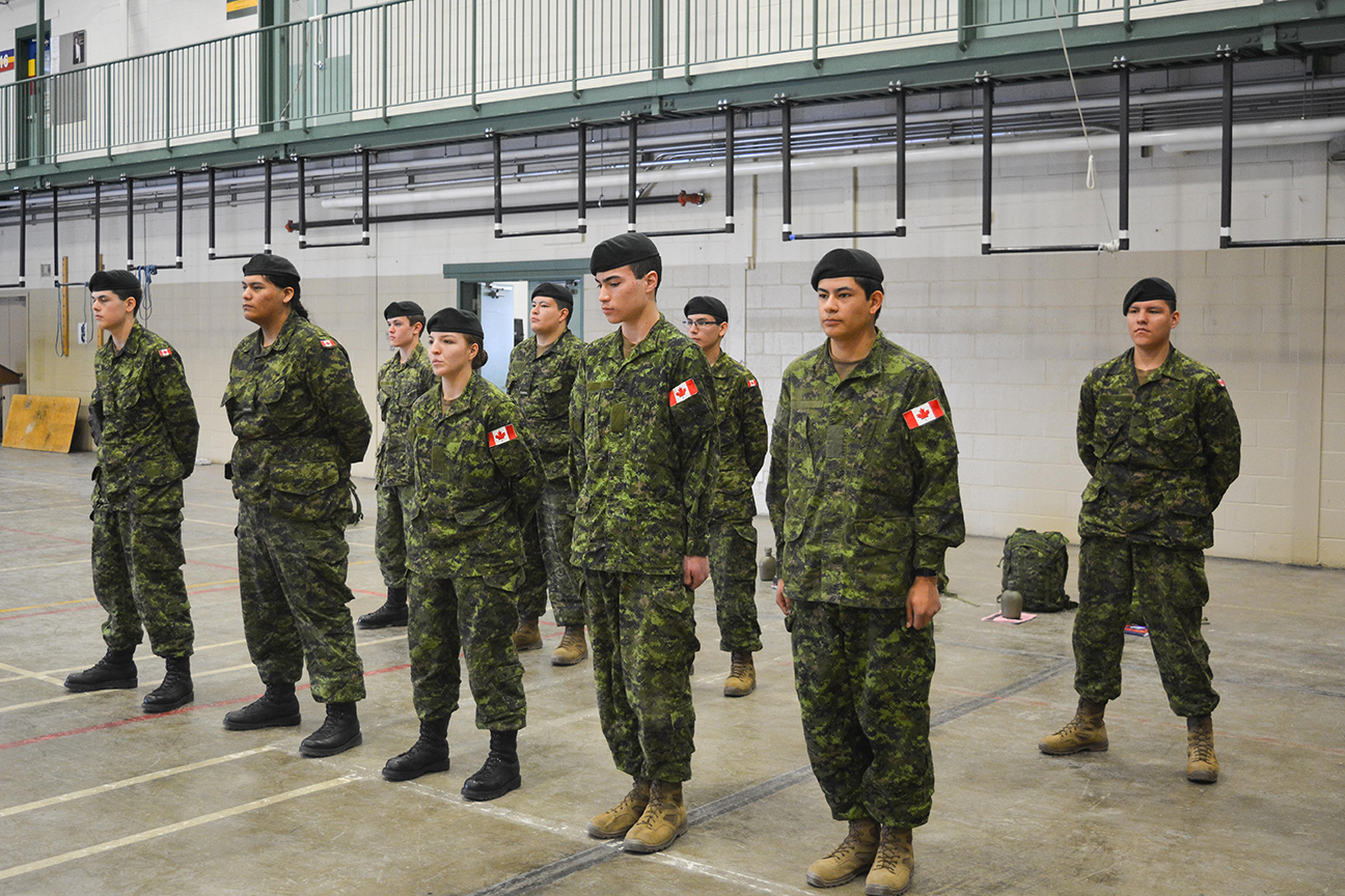 Students from Beardy's and Okemasis First Nation stand at attention during the basic military qualification co-op program at Hugh Cairns VC Armoury on April 6, 2017.