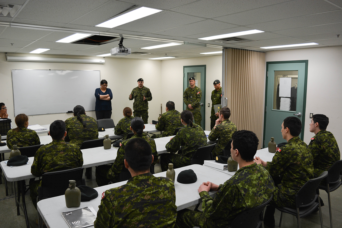 Students from Beardy's and Okemasis First Nation attend classroom instruction during the Basic Military Qualification Co-op Program at Hugh Cairns VC Armoury, on April 6, 2017.
