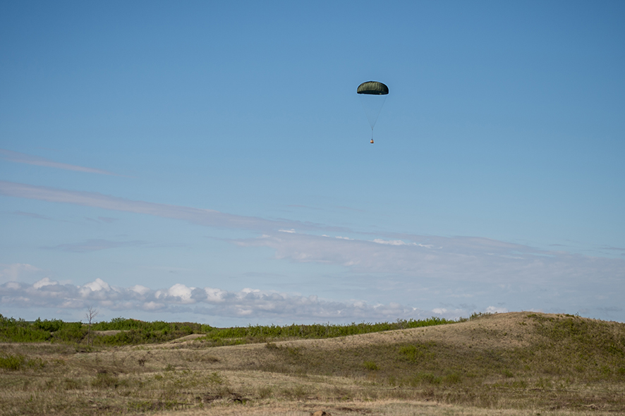 A supply package dropped out of a CC-130J Hercules from 436 Squadron, Trenton on  May 16, 2017, during Exercise MAPLE RESOLVE, the Canadian Army's largest and most comprehensive training event, which is held in Wainwright, Alberta each year.
