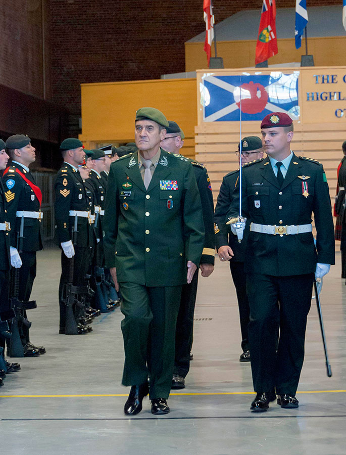 General Eduardo Dias da Costa Villas Bôas, commander of the Brazilian Army, inspects the Honour Guard soldiers in Cartier Square Drill Hall during the Brazilian Army delegation visit to Ottawa, Ontario on  May 31, 2016. General Bôas' visit was planned by Colonel Marco Moraes (not pictured), who is currently serving as a Liaison Officer in Canada. 