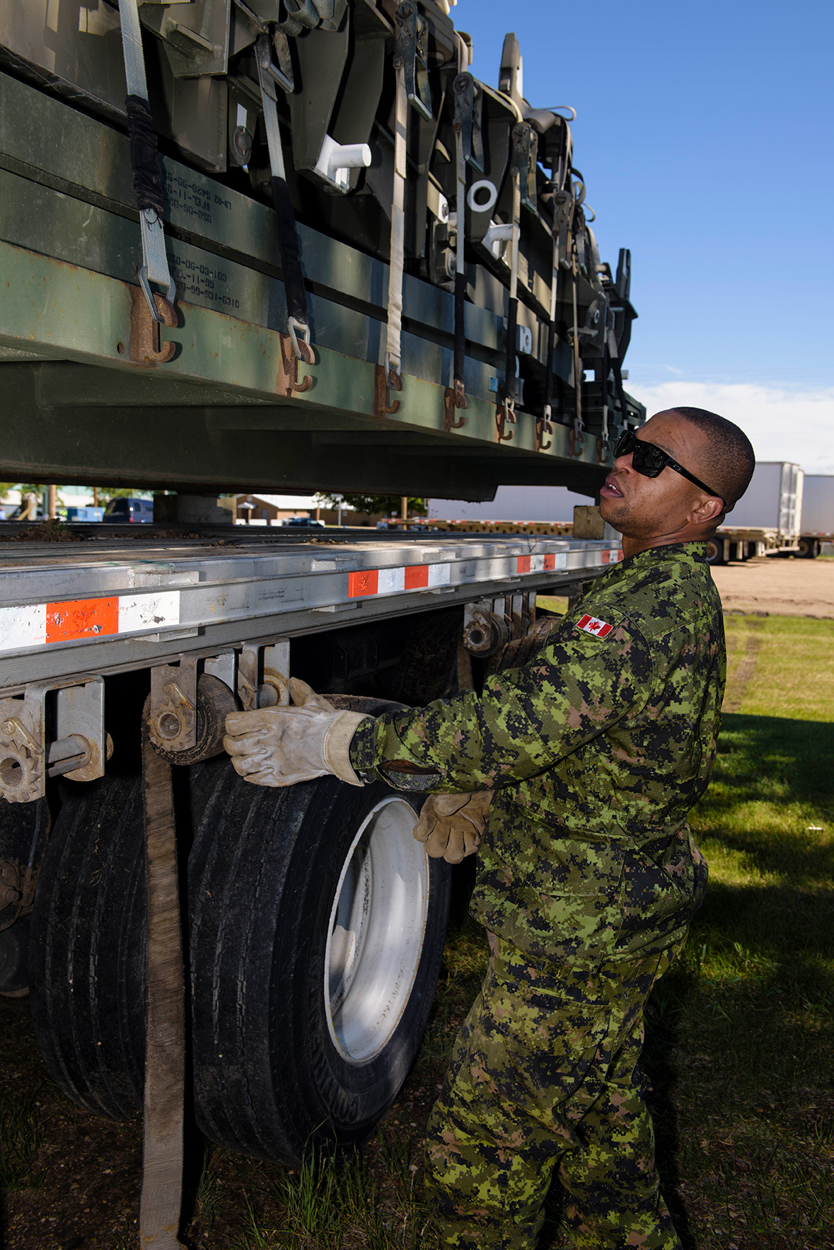 Corporal Shawn Brown prepares to leave Canadian Forces Base/ Area Support Unit Wainwright