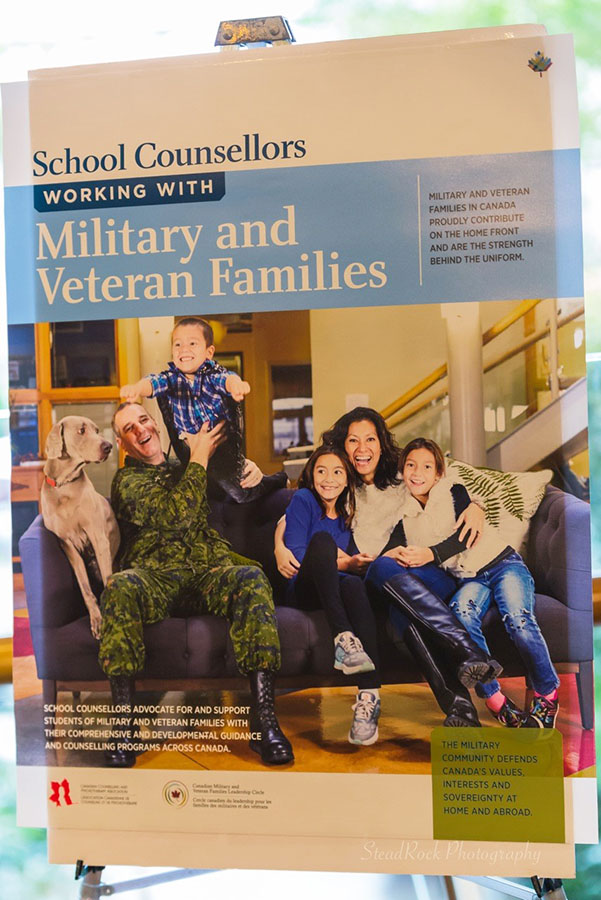 A banner shows the cover of School Counsellors Working with Military and Veteran Families at its launch