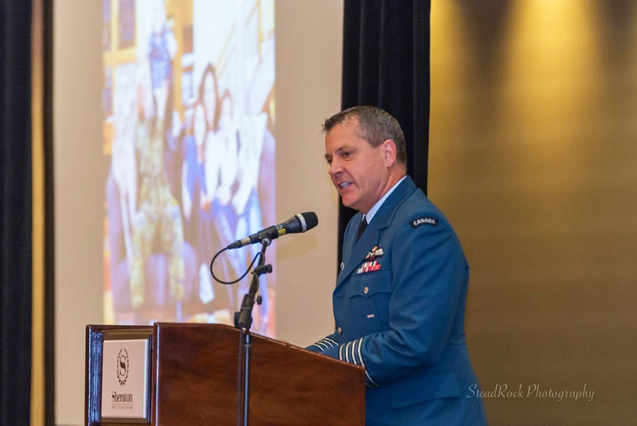 Colonel Dan Harris, Director, Military Family Services, speaks at the Canadian Counselling and Psychotherapy Association annual conference, held in St. John's, Newfoundland on May 19, 2017. A new resource for school counsellors who work with military and Veteran families was introduced.