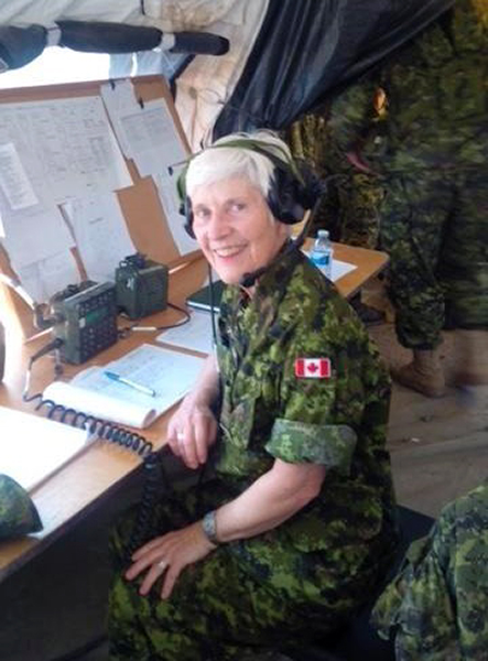 Honorary Lieutenant-Colonel Cheryl Robertson joined fellow members of 37 Signal Regiment on Exercise STRIDENT TRACER in August 2014. Ms. Robertson took on the role three years ago and says it's been a highly rewarding experience.