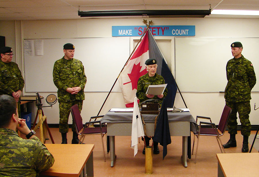 Honorary Lieutenant-Colonel Cheryl Robertson is pictured during a change of command ceremony for her unit, 37 Signal Regiment. Honoraries are a longstanding tradition in the Canadian Army that Ms. Robertson says she's proud to be a part of.