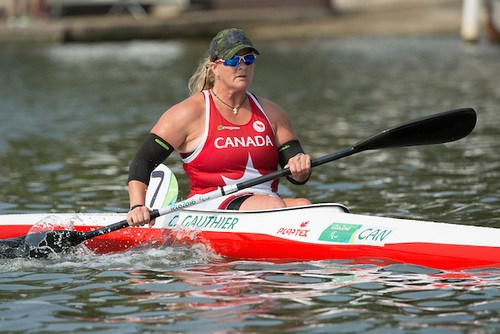 Christine Gauthier of Canada competes in the Women's KL2 Final Canoe Sprint at Lagoa Stadium during the Rio 2016 Paralympic Games. Photo: Matthew Murnaghan/Canadian Paralympic Committee.