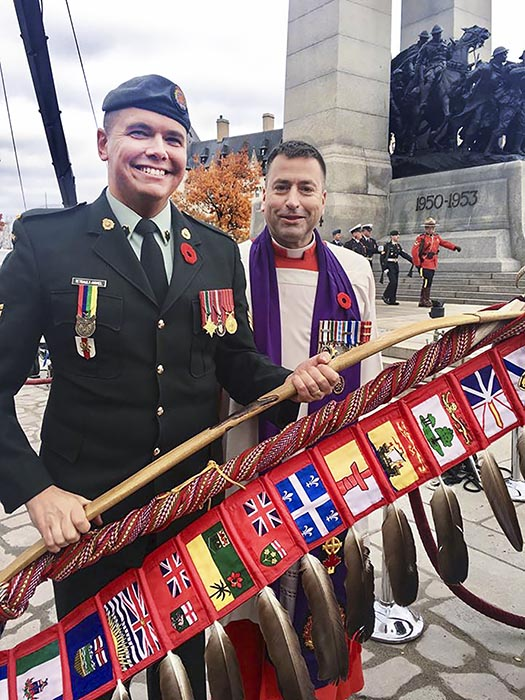 Sergeant Moogly Tetrault-Hamel (left) with Chaplain General Brigadier-General Guy Chapdelaine (right) at the National War Memorial during the 2016 Remembrance Day ceremonies in Ottawa. Photo: courtesy Sergeant Moogly Tetrault-Hamel.