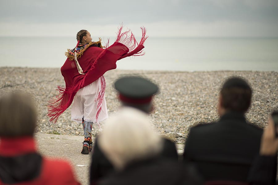 Tahnee Parisian, a member of Buffalo Red Thunder, dances a ceremonial dance at the Indigenous Sunrise Ceremony in honour of the 75th anniversary of the Dieppe Raid in Dieppe, France on August 18, 2017.  Photo: Corporal Andrew Wesley, Army Public Affairs. ©2017 DND/MDN Canada.