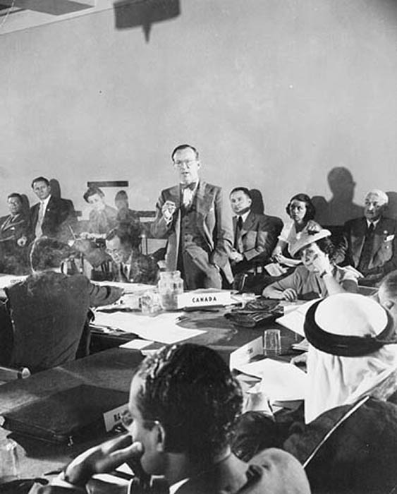 Lester B. Pearson addressing one a committee at the United Nations Conference on International Organization in San Francisco.