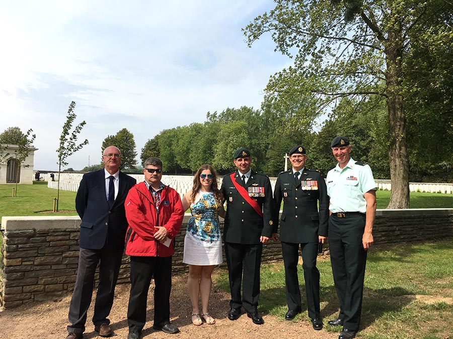 Forensic anthropologist Dr. Sarah Lockyer, coordinator of the Canadian Armed Forces' Casualty Identification Program, is pictured at Canadian Cemetery No. 2 with Directorate of History and Heritage colleagues in France in August 2017. Dr. Lockyer was instrumental in the identification of three Canadian First World War casualties, and one unknown Canadian, who were given belated burial honours. Photo: Veletia Richards