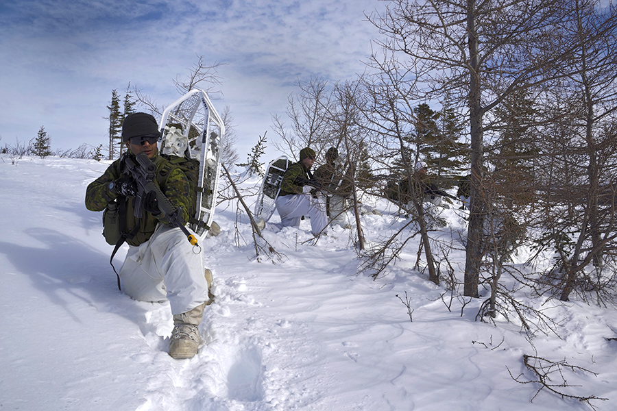 Canadian soldiers during winter training exercises on March 7, 2016 during Exercise NORTHERN SOJOURN 2016 in the Atlantic provinces. 
